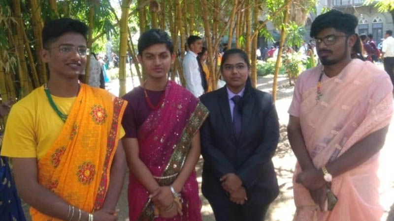 College boys of Pune dress up in sarees on traditional day to send message on gender equality