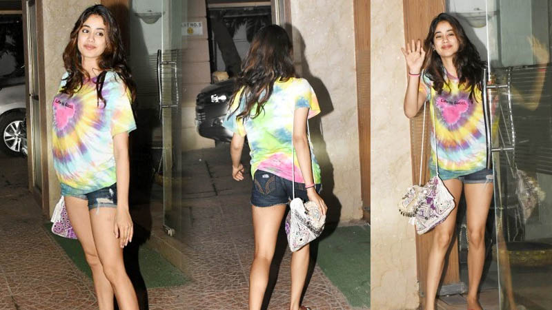 Pics of Janhvi Kapoor in top and denim mini shorts on day out