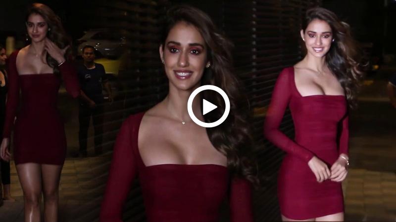 Disha Patani Looked Sensuous In Crimson Mini Dress At Malang Success Party Watch Video Truescoop