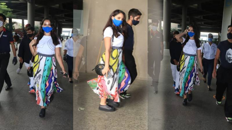 Check out the latest funky airport look of Nora Fatehi. Pics Inside