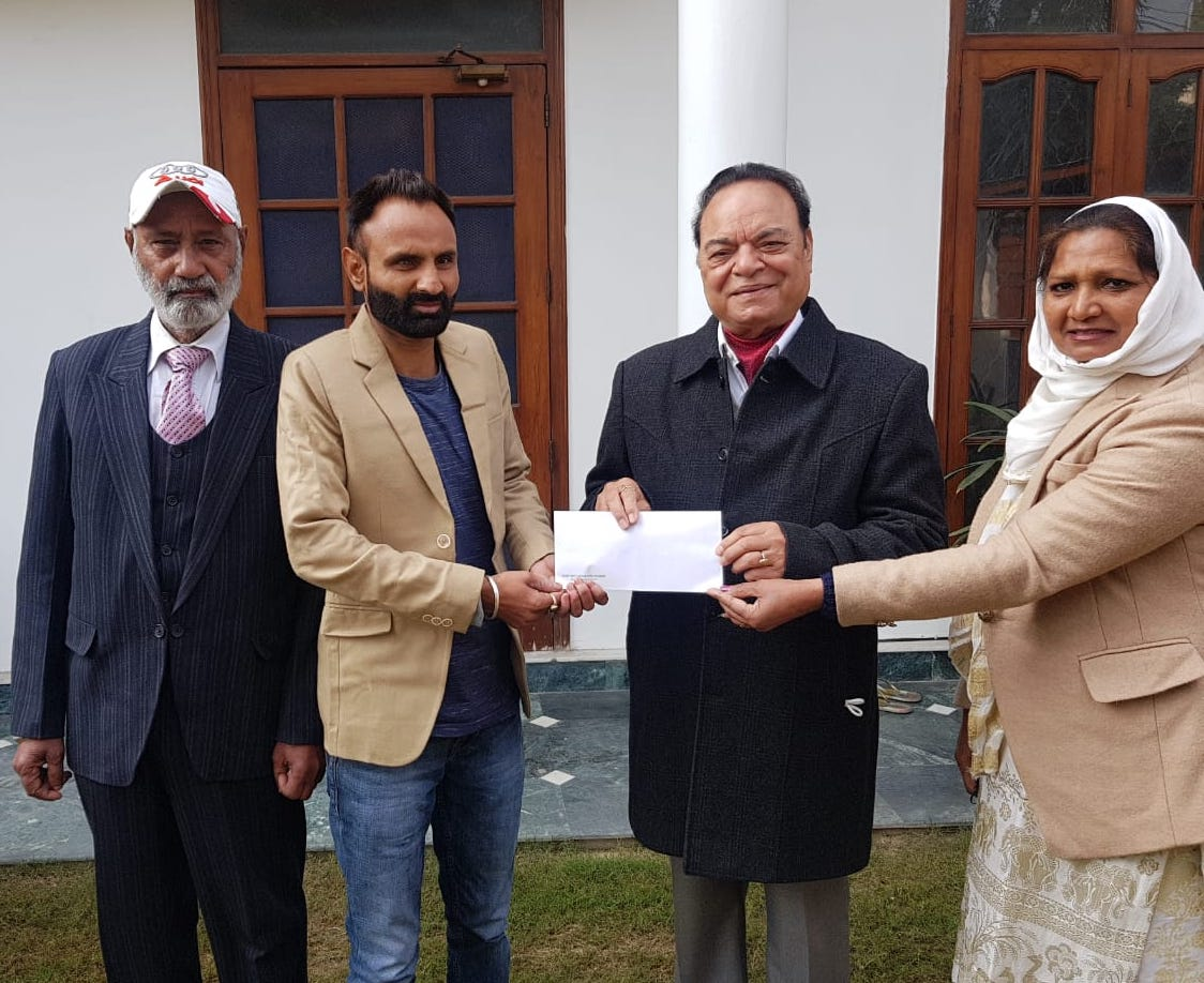 True Scoop Impact: MP Chaudhary gives away Rs 2 lakh cheque to Blind Cricket World Cup winner Tejinder Pal Singh
