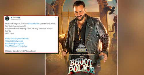 """Saif Ali Khan in Controversy again; Netizens Ask, """"Why Hindu Saints In Background?"""" after 'Bhoot Police' poster revealed"""