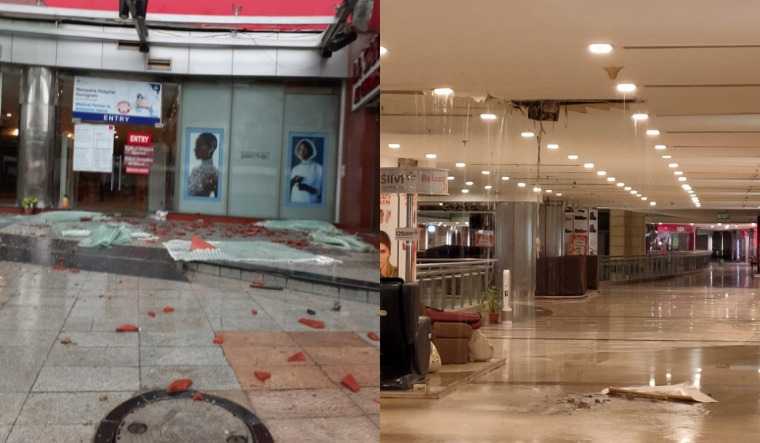 Due to heavy rain portion of roof of Ambience Mall collapses in Gurugram