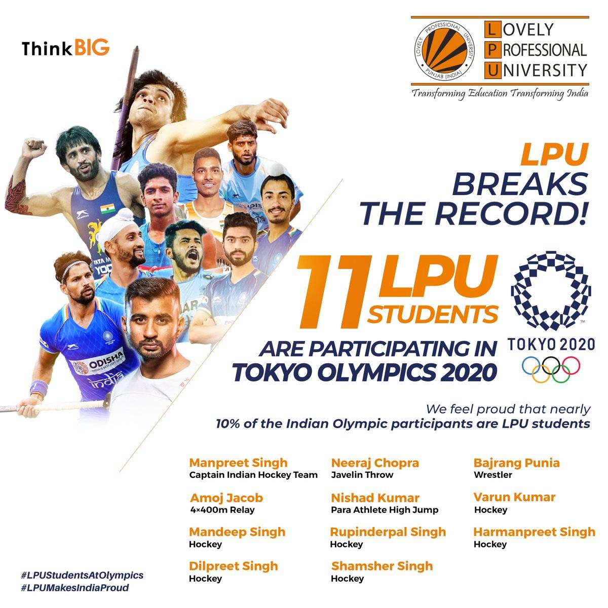 Meet 11 students of LPU who are part of the Indian contingent at Tokyo Olympics 2020