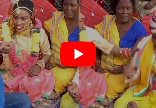 Viral Video: Angry bride beats groom for chewing Tobacco during wedding rituals