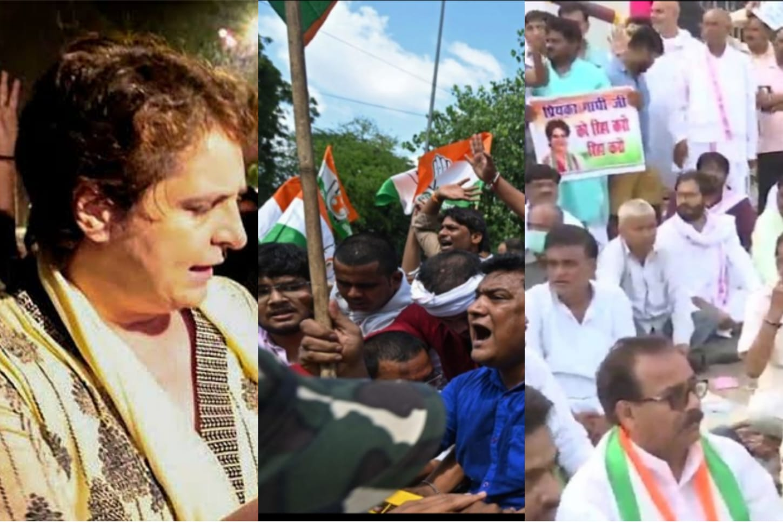 Cong workers break barriers, raise slogans as Priyanka Gandhi remains under detention in UP's Sitapur