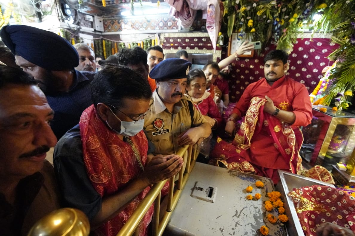 'Not as political leader but have come as common devotee': Arvind Kejriwal at Devi Talab temple