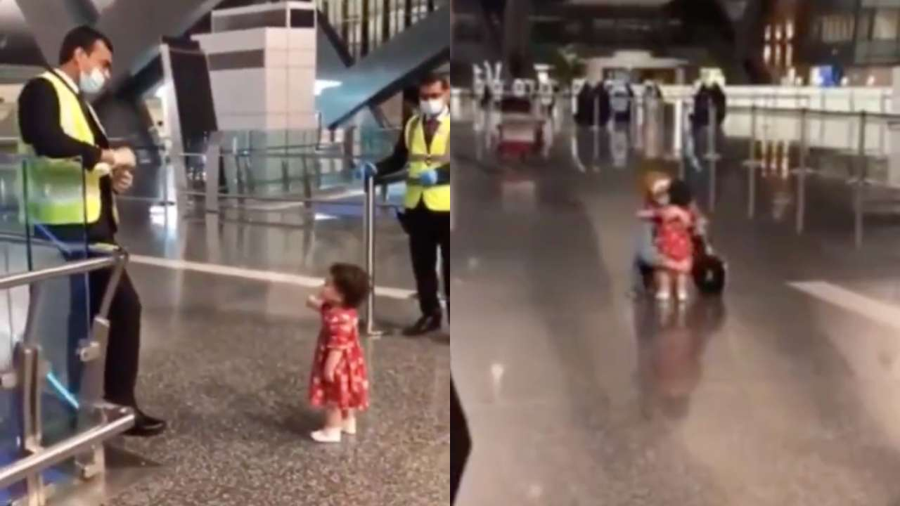 Viral Video of little girl at airport