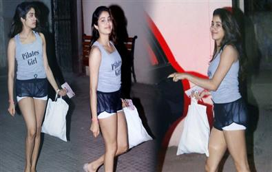 Wednesday Workout Look: See Pics of Janhvi Kapoor in ganji and mini shorts