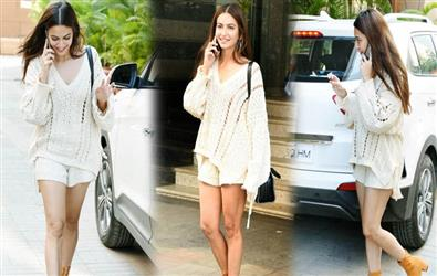 Kriti Kharbanda's blend of sheer sweater and shorts is perfect example of how to look sexy in winters