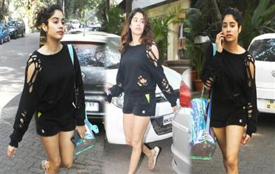 Janhvi Kapoor spotted outside gym in distressed sweatshirt and mini shorts. Pics Inside