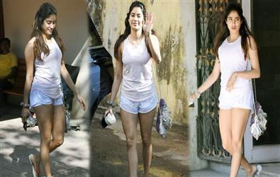 Pics: Janhvi Kapoor looks astonishing in white sleeveless tee and mini shorts at gym