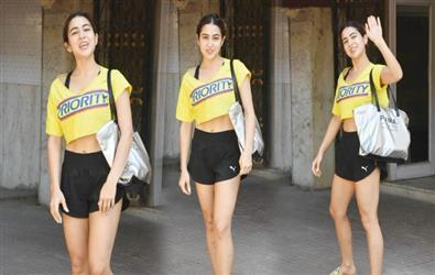 Sara Ali Khan spotted outside in gym in yellow crop top and mini shorts. See Pics