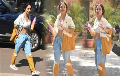 Pics: Malaika Arora spotted in white sports bra and joggers sets a new trend in gym fashion