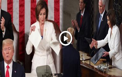 Trump refuses to shake hand with Nancy Pelosi. In Return she tears Trump's written speech