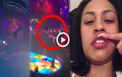 Stripper Genea Sky falls from 20 ft high while doing Pole dance. Video viral