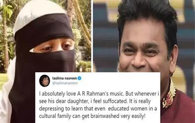 Writer Taslima Nasreen feels suffocated on seeing AR Rehman's daughter
