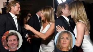 "Twitter is drooling over Brad Pitt and Jennifer Aniston's ""flirtatious"" video during Virtual Reunion"