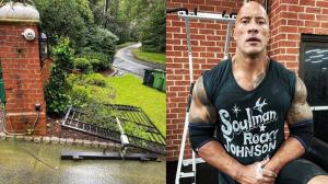 "Dwayne Johnson aka The Rock rips off a ""Metal"" Gate with Bare Hands as he was 'Late for Work'"